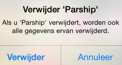 parship app definitief verwijderen iOS