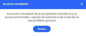Hot or not account verwijderd