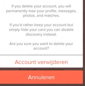 Tinder app definitief verwijderen
